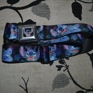 Buckle Down Stitch smiling close up full color black tropical floral seat belt